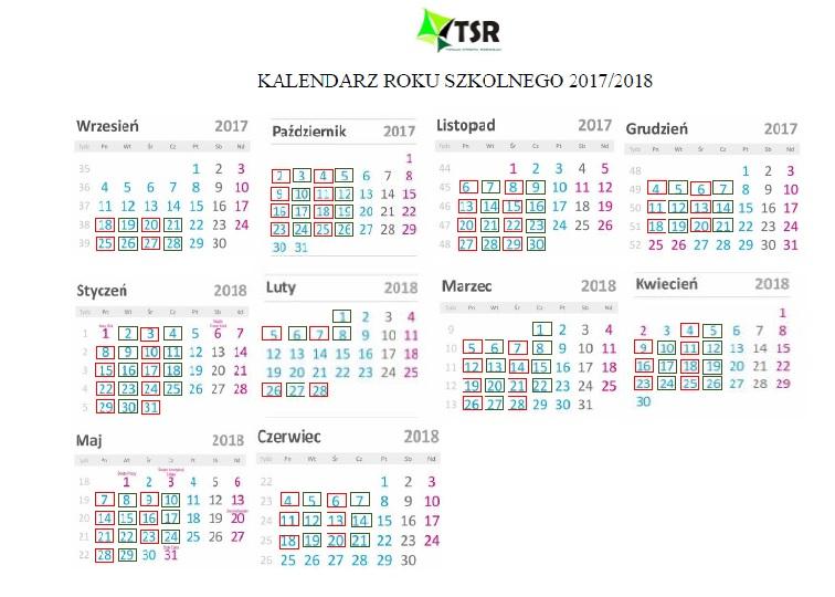 Kalendarz roku szkolnego 2017/2018 – harmonogram zajęć