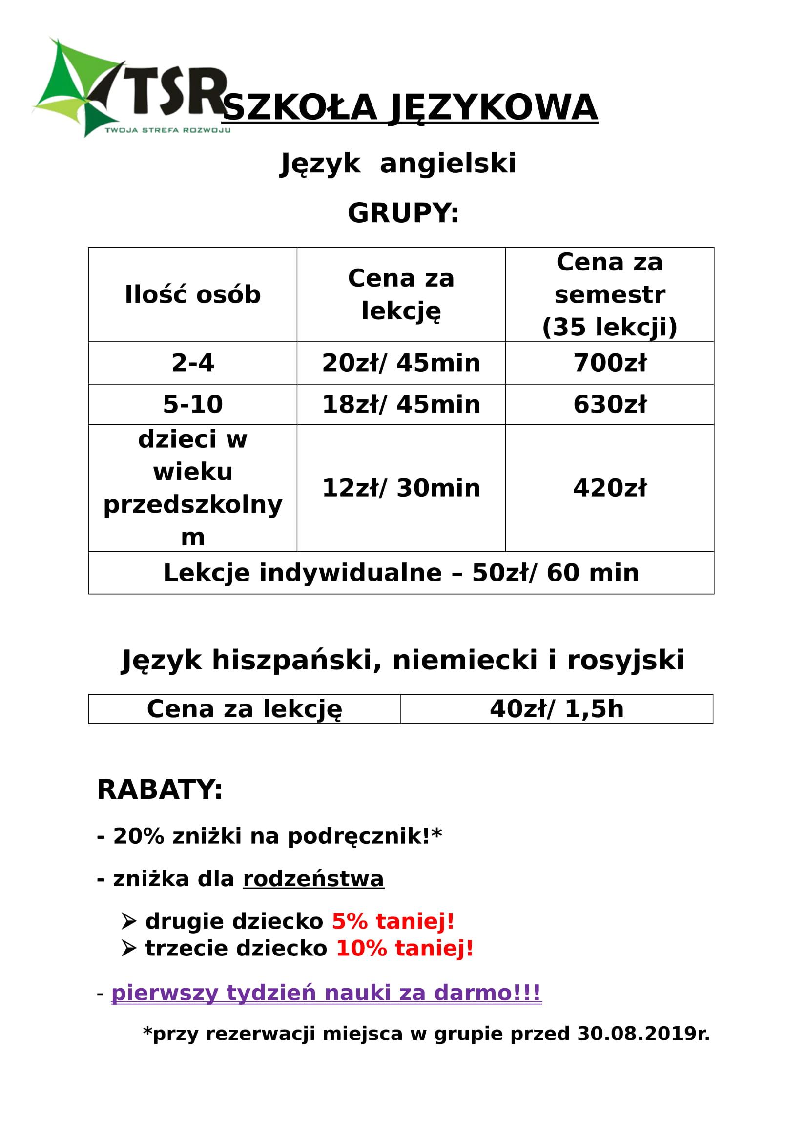 Cennik Szkoła Językowa 2019/2020