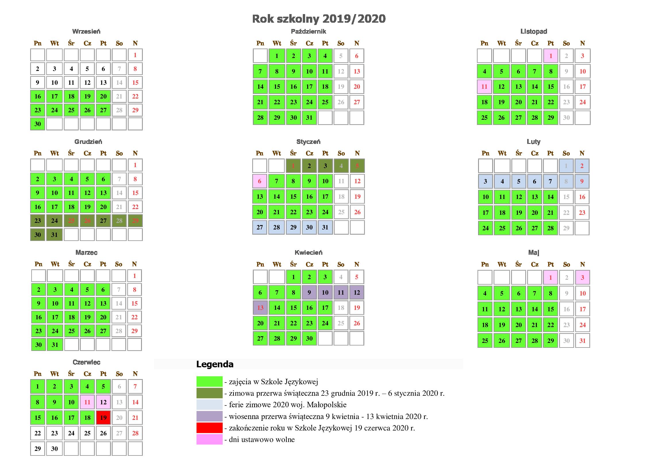 Kalendarz Rok Szkolny 2019/2020